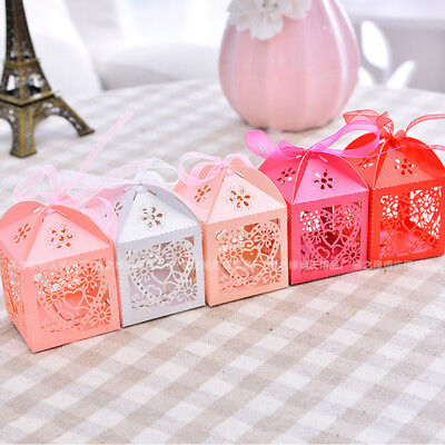 AU 50PCS Love Heart Laser Cut Candy Box Gift Boxes Ribbon Wedding Party Favor