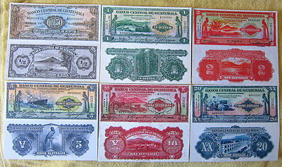 Banco Central De Guatemala  Q050 1 2 5 10 20 Quetzales  XL Copy Reprint Set