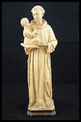 † 20TH St ANTHONY of PADUA & JESUS CHILD CHALKWARE PLASTER HAND PAINTED FRANCE †