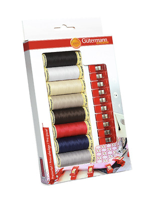 Gutermann Sewing Kit - 8 x 100m Spools & 10 x Fabric Quilter Clips