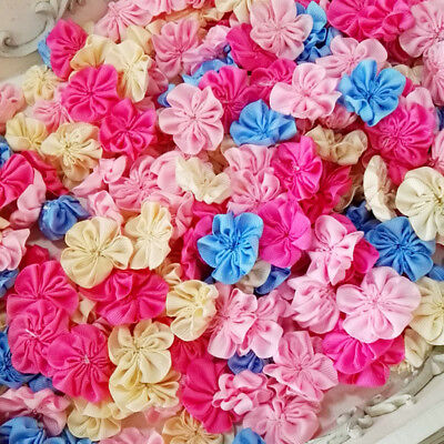100PCS/lot Handmade colorful Kids Baby Girl flowers DIY accessories (no clip)