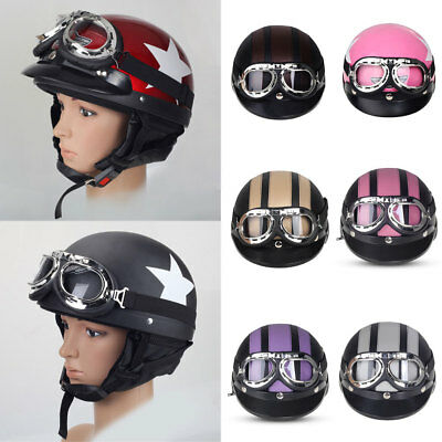 Motorcycle ABS Open Face Helmet + Detachable Visor + Goggles Safety