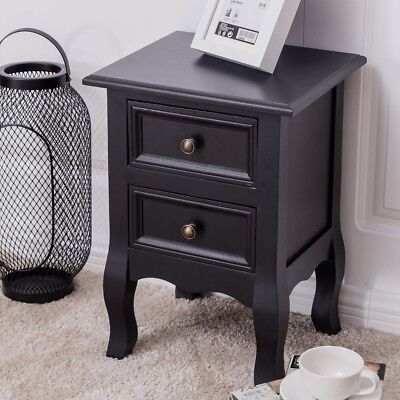 Black Bedside Table French Style Cabinet 2 Drawer Nightstand Bedroom Furniture