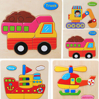 Wood Puzzle Blocks Vehicle Toys For Toddlers Baby Educational Learning Gift