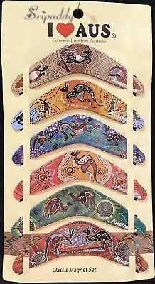 1 pack Of 6 Australian Souvenir Boomerang Fridge Magnet Kangaroo Aboriginal Art