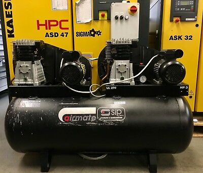 ABAC / SIP Airmate B3800/270 Tandem Piston Air Compressor, Single Phase, 32Cfm!