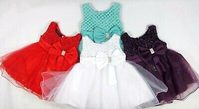 Baby Babies Girls Occasional Dress Party Flower Bridesmaid Sparkle Beaded 24 M