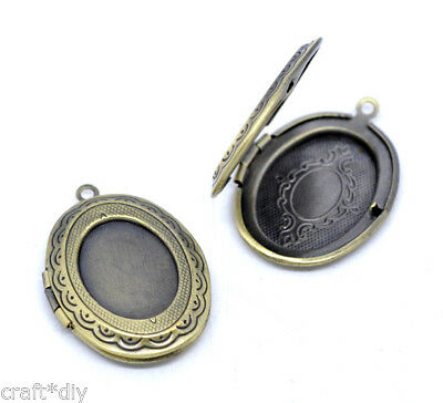5 Pendentifs Médaillon Ovale Porte Photo Bronze Support Cabochon 34x24mm DIY