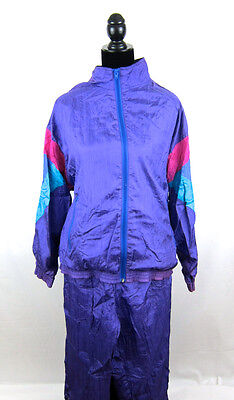 VTG 80s WINDBREAKER & PANTS Tracksuit colorblock geometric nylon retro purple