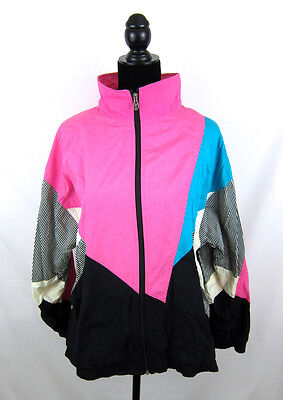 VTG 80s WINDBREAKER Tracksuit colorblock geometric LAVON nylon pink teal stripe