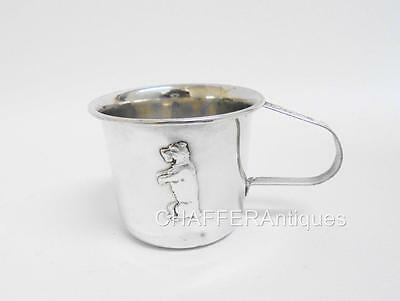 Antique Continental Silver Plate Christening Mug with Dog Emblem