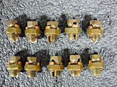 Lot of 10 Bronze Alloy Split-Bolt Connector,8 sol to 6 sol, 6H (DR)