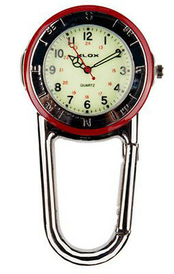 Polished Silver Clip on Belt Fob Watch with Luminous Dial. Red or Black Bezel