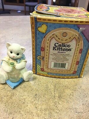 "Calico Kittens ""You're A Lucky Catch"" Figurine With Box Collectible"