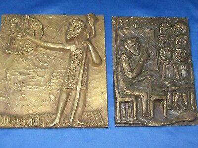 Lot of Two Antique German Solid Heavy Brass Embossed Pictures W/ Hangers Nice