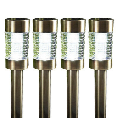 Set of Four Antique Brass Marker Light With Bright White LED