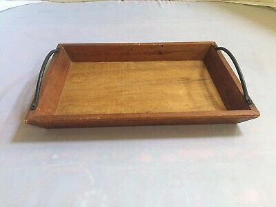 Pottery Barn Wooden Wood Serving Tray Wrought Iron Handle