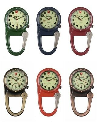 Carabiner Clip on Belt Watches. Sports Fob Watch, Doctors, Sports, Hikers.