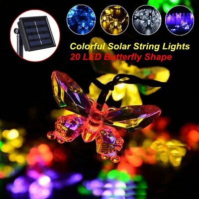 Solar String Lights 20LED Butterfly Lighting Xmas Wedding Party Decor Fairy Lamp