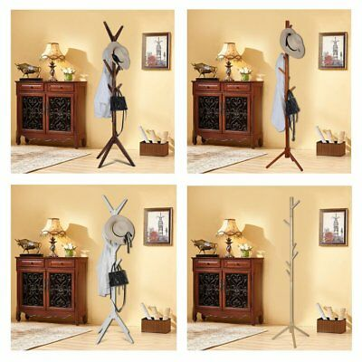 Wooden Coat Rack Hat Rack Stand Natural Clothes Hanger Cloth Rack Stand 172CM MU