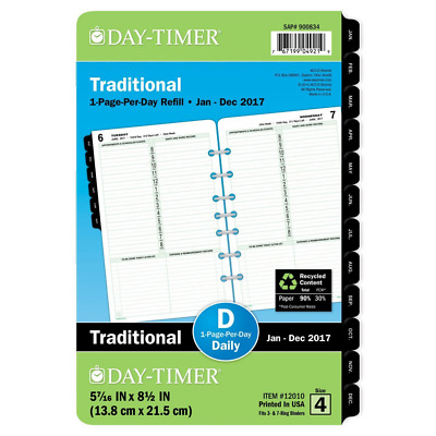 """Day-Timer Daily Planner Refill 2017, One Page Per Day, Classic, 5-1/2 x 8-1/2"""","""