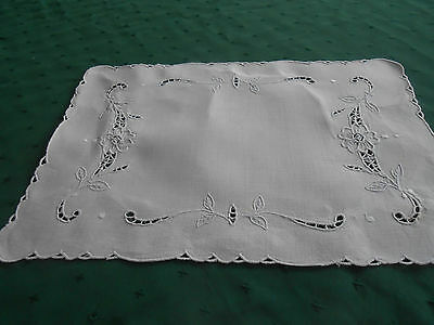 Antique White Linen Doily With Fabulous White Work Hand Embroidery, Circa1920