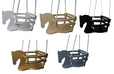 WOODEN SWING Horse safety NEW solid wood 5 colours