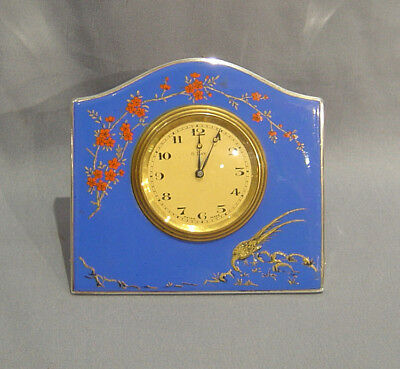 English silver and hand painted enamel strut clock