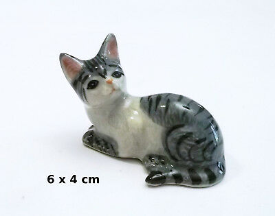 chat gris, miniature en porcelaine,collection,décoration,animal, cat,poes  S3-5