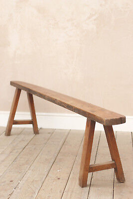 Lovely Antique Vintage Industrial Rustic Mid Century Fruitwood Bench
