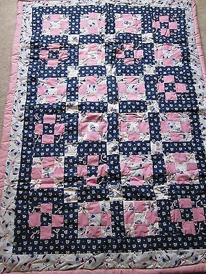 Hand Made Child's/baby Quilt-Pinks/blues-Cats-Little Houses-39 X 54