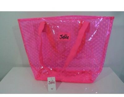NWT Justice Hot Pink See-Thru Plastic Heart Cut Out Tote Bag