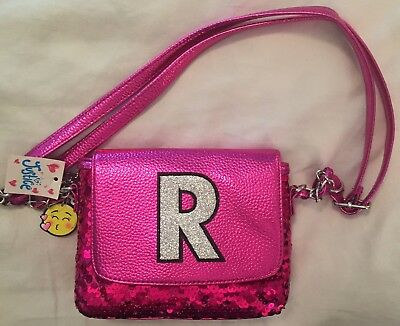 """NWT Justice Heart Charm Initial """"R"""" Sequin Purse"""