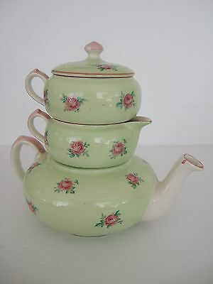 VTG Lord Nelson Stacking China 3 in 1 Mini Teapot Tea Set Pink Roses on Green
