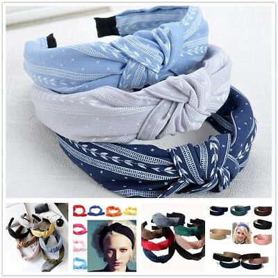 Boho Headband For Girls Solid Color Elastic Hair Band Twisted Knot Cloth  Turban ab99755a754
