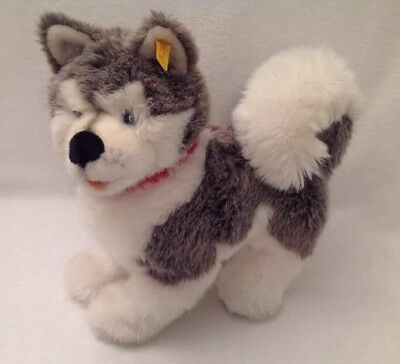 STIEFF Molly Husky Dog EAN 104947 Standing Red Collar Ear Button RARE HTF