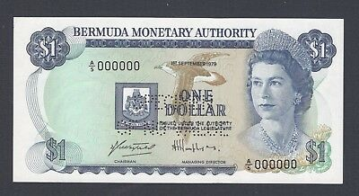 Bermuda One Dollar 1-9-1979 P28bs Specimen Perforated Uncirculated