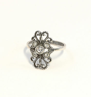 925 silver Ring with Swarovski Stones Big 53 blumenmuster 9901391