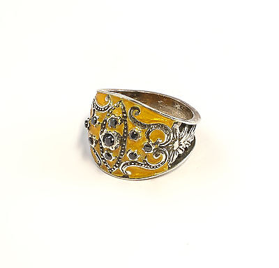 925 Silver enamelled Ring with Onyx Big 58 blumenmuster yellow 9901412