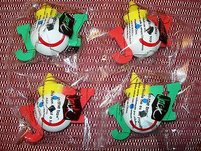 """Jack in the Box """"Joy"""" Antenna Ball / Tree Ornaments Set of 4, 2 Red & 2 Green"""