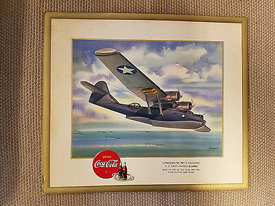 WW II Coca Cola 1943 Consolidated PBY-5 Catalina Heaslip Litho Signed Print
