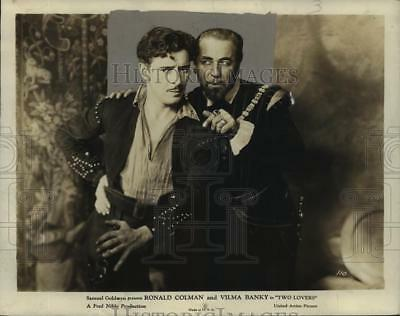 """1928 Press Photo """"Two Lovers"""" - Ronald Colman and Noah Beery, United Artists"""
