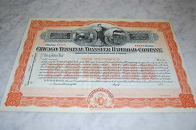 STOCK CERTIFICATE - CHICAGO TERMINAL TRANSFER RAILROAD COMPANY – IL. Early 1900