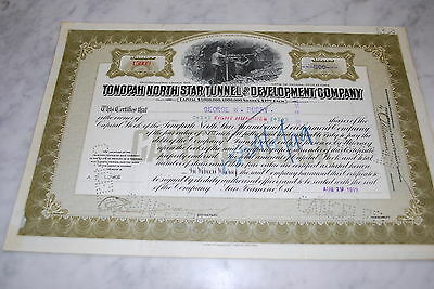 Stock Certificate - Tonopah North Star Tunnel and Development Company - NV 1919