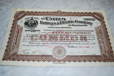 Stock Certificate - The United Railways &  Electric Company of Baltimore - 1899