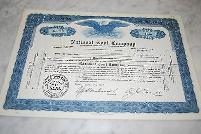 Stock Certificate - NATIONAL TOOL COMPANY – OHIO 1947