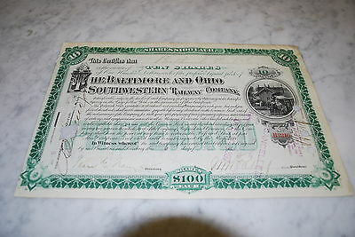Stock Certificate - The Baltimore And Ohio Southwestern Railway Company – 1897