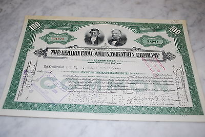 Stock Certificate - The Lehigh Coal and Navigation Company – Pennsylvania 1938