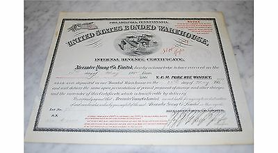 Stock Certificate - UNITED STATES BONDED WAREHOUSE – PENNSYLVANIA 1899
