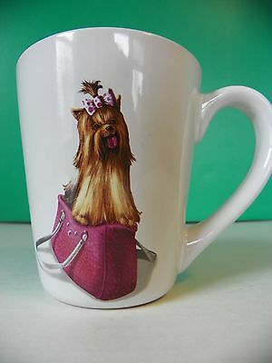 Paws n Claws stoneware coffee mug; Yorkie sitting in purse